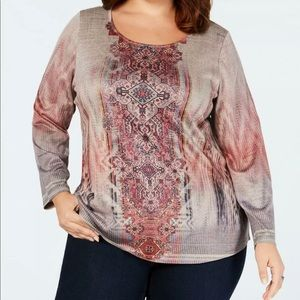 Style & Co Embellished Mixed Print Top 1X Tunic